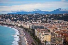 Η προκυμαία της Νίκαιας με Promenade des Anglais Στοκ φωτογραφία με δικαίωμα ελεύθερης χρήσης