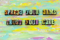 Η προσοχή εμπιστοσύνης αποδοχής που δίνει το είδος βοήθειας θεωρεί lette διανυσματική απεικόνιση