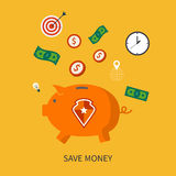Η προστασία και σώζει είναι επιχειρησιακή έννοια χρημάτων μέσα ελεύθερη απεικόνιση δικαιώματος