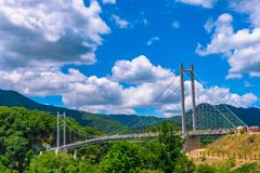 Η πρωινή ατμόσφαιρα στο περιστέρι Nang η γέφυρα, Pocheon Σεούλ Κορέα στοκ εικόνα με δικαίωμα ελεύθερης χρήσης