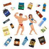 Η πρωτεϊνική σκόνη διατροφής ικανότητας συμβόλων διατροφής τροφίμων αθλητών και αθλητισμού γυμναστικής Bodybuilders πίνει τη διαν απεικόνιση αποθεμάτων