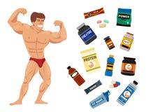 Η πρωτεϊνική σκόνη διατροφής ικανότητας συμβόλων διατροφής τροφίμων αθλητών και αθλητισμού γυμναστικής Bodybuilders πίνει τη διαν διανυσματική απεικόνιση