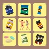 Η πρωτεϊνική σκόνη διατροφής ικανότητας συμβόλων διατροφής τροφίμων αθλητών και αθλητισμού γυμναστικής Bodybuilders πίνει τη διαν ελεύθερη απεικόνιση δικαιώματος