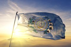 Η πρωτεύουσα πόλεων της Κολούμπια νότια Καρολίνα των Ηνωμένων Πολιτειών σημαιοστολίζει το υφαντικό ύφασμα υφασμάτων που κυματίζει στοκ φωτογραφία με δικαίωμα ελεύθερης χρήσης