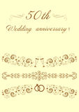 50η πρόσκληση αρχικό Illustrat γαμήλιας επετείου Στοκ φωτογραφίες με δικαίωμα ελεύθερης χρήσης