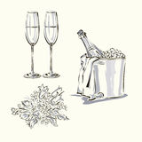 Η πρόσκληση ημέρας γάμου έθεσε με το γαμήλιο κέικ, το μπουκάλι σαμπάνιας, stemwares και την ανθοδέσμη Απεικόνιση αποθεμάτων