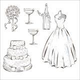 Η πρόσκληση ημέρας γάμου έθεσε με το γαμήλιο κέικ, το μπουκάλι σαμπάνιας, stemwares και τα άσπρα dres Απεικόνιση αποθεμάτων