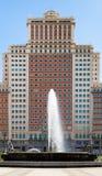 Η πρόσοψη οικοδόμησης της Ισπανίας στην πλατεία της Ισπανίας στη Μαδρίτη Στοκ φωτογραφία με δικαίωμα ελεύθερης χρήσης