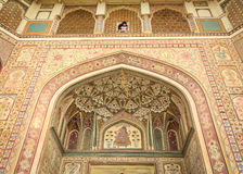 Η πρόσοψη του ηλέκτρινου οχυρού στο Jaipur, Ινδία Στοκ εικόνες με δικαίωμα ελεύθερης χρήσης