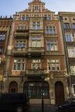 Η πρόσοψη του όμορφου ιστορικού κτηρίου στην οδό της παλαιάς πόλης του Γντανσκ Πολωνία Στοκ Εικόνες