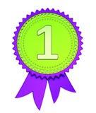 1$η πρώτη θέση κορδελλών βραβείων, αριθμός 1 μια πράσινη πορφύρα μεταλλίων απεικόνιση αποθεμάτων