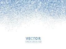 Η πτώση ακτινοβολεί κομφετί Μπλε διανυσματική σκόνη, έκρηξη που απομονώνεται στο λευκό Το σπινθήρισμα ακτινοβολεί σύνορα, εορταστ Στοκ Εικόνα