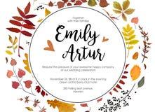 Η πτώση γαμήλιου φθινοπώρου προσκαλεί το floral ασβέστιο ύφους watercolor πρόσκλησης διανυσματική απεικόνιση
