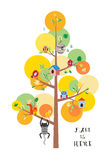 Η πτώση είναι εδώ επίπεδη διανυσματική απεικόνιση δέντρων φθινοπώρου Στοκ Εικόνες