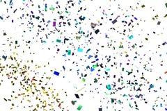 Η πτώση ζωηρόχρωμη ακτινοβολεί κομφετί φύλλων αλουμινίου, χρώμα στο άσπρο υπόβαθρο, διακοπές και εορταστική διασκέδαση Στοκ Εικόνα