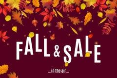 Η πτώση και η πώληση είναι στο πρότυπο εμβλημάτων αέρα διανυσματική απεικόνιση