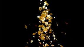Η πτώση χρυσή ακτινοβολεί κομφετί φύλλων αλουμινίου, στο μαύρο υπόβαθρο ελεύθερη απεικόνιση δικαιώματος