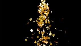 Η πτώση χρυσή ακτινοβολεί κομφετί φύλλων αλουμινίου, στο μαύρο υπόβαθρο απεικόνιση αποθεμάτων