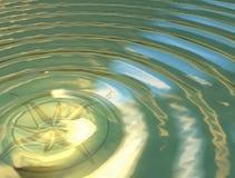 Η πυξίδα στο νερό στοκ εικόνα