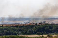 Η πυρκαγιά ή η φυσική πυρκαγιά στους τομείς με τα δέντρα ands καλύπτει με χορτάρι, σκοτεινός καπνός Στοκ φωτογραφία με δικαίωμα ελεύθερης χρήσης