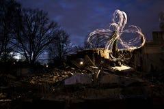 Η πυρκαγιά παρουσιάζει στη βιομηχανική θέση Στοκ Φωτογραφία