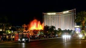 Η πυρκαγιά παρουσιάζει, Las Vegas Strip, Λας Βέγκας, Νεβάδα, ΗΠΑ, απόθεμα βίντεο