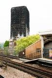 Η πυρκαγιά πύργων Grenfell Στοκ Εικόνες