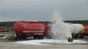 Η πυρκαγιά στο σιδηρόδρομο απόθεμα βίντεο
