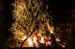 Η πυρκαγιά στο φούρνο Στοκ φωτογραφίες με δικαίωμα ελεύθερης χρήσης