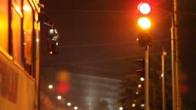 Η πόλη νύχτας, φωτεινός σηματοδότης, στάσεις λεωφορείου σε έναν φωτεινό σηματοδότη, κλείνει επάνω απόθεμα βίντεο