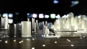 Η πόλη στη μητρική κάρτα Νευρικά δίκτυα Επικοινωνία του μέλλοντος 4K απεικόνιση αποθεμάτων