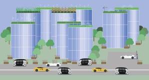 Η πόλη της μελλοντικής έννοιας διανυσματική απεικόνιση