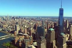 Η πόλη της Νέας Υόρκης είναι μια άποψη s-ματιών πουλιών ` Ουρανοξύστες του CI στοκ φωτογραφίες
