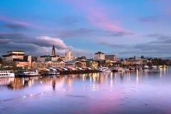 Η πόλη Valdivia στην ακτή calle-Calle του ποταμού, Χιλή στοκ φωτογραφία