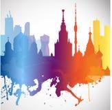 Η πόλη Μόσχα επικαλύψεων σκιαγραφιών με τους παφλασμούς του watercolor ρίχνει τα ορόσημα ραβδώσεων Στοκ Εικόνες