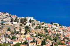 Η πόλη του νησιού Symi στην Ελλάδα Στοκ Εικόνα