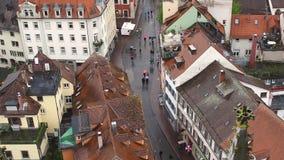 Η πόλη Konstanz Η άποψη από τα ύψη της παλαιάς πόλης Konstanz Το βίντεο παρουσιάζει τα παλαιά σπίτια, τις στενά οδούς και α απόθεμα βίντεο