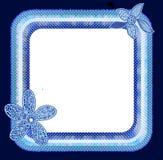 Η Πόλκα διαστίζει το μπλε πλαίσιο λουλουδιών διανυσματική απεικόνιση