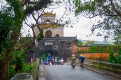 Η πύλη παλατιών, αυτοκρατορική τάφρος παλατιών, Βιετνάμ, χρώμα Στοκ εικόνα με δικαίωμα ελεύθερης χρήσης