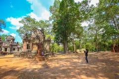 Η πύλη Angkor wat του angkor thom bayon bakong bapoun siem συγκεντρώνει το βασίλειο της Καμπότζης της κατάπληξης Στοκ εικόνα με δικαίωμα ελεύθερης χρήσης