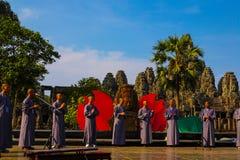 Η πύλη Angkor wat του angkor thom bayon siem συγκεντρώνει το βασίλειο της Καμπότζης της κατάπληξης Στοκ Εικόνα
