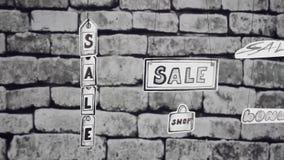 Η πώληση επιγραφών και τα γκρίζα τούβλα φιλμ μικρού μήκους