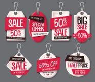 Η πώληση κολλά το διανυσματικό σύνολο προτύπων περικοπών εγγράφου Ετικέτα τιμών με το κείμενο πώλησης και έκπτωσης απεικόνιση αποθεμάτων