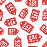 Η πώληση 80% μακριά κρεμά το άνευ ραφής υπόβαθρο σχεδίων ετικεττών Επιχείρηση επίπεδη Στοκ Φωτογραφίες
