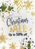 Η πώληση Χριστουγέννων Άσπρο έμβλημα για τον Ιστό ή το ιπτάμενο Στοκ Εικόνα