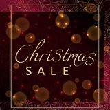 Η πώληση Χριστουγέννων Διαφήμιση της αφίσας για το κατάστημα Bokeh και σκούρο κόκκινο υπόβαθρο διανυσματική απεικόνιση