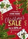 Η πώληση Χριστουγέννων Κόκκινο έμβλημα για τον Ιστό ή το ιπτάμενο Στοκ Εικόνες