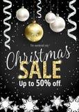 Η πώληση Χριστουγέννων Μαύρο έμβλημα για τον Ιστό ή το ιπτάμενο Στοκ Εικόνες