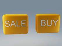 Η πώληση και αγοράζει το κουμπί Στοκ Φωτογραφίες