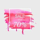 Η πώληση μέχρι 70 τοις εκατό από το σημάδι πέρα από το κτύπημα watercolor βουρτσών τέχνης χρωματίζει την αφηρημένη διανυσματική α Στοκ Εικόνα
